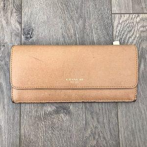 Coach Sleek Tan Leather Flap Wallet